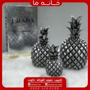 مجسمه آناناس سه تایی نقرهای