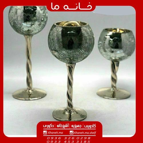 جا شمعی مدل شیشه 3 تایی