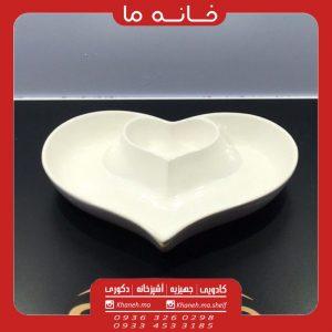 اردو خوری سرامیکی طرح دو قلب سفید