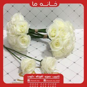 گل رز مصنوعی سفید مدل الکادو