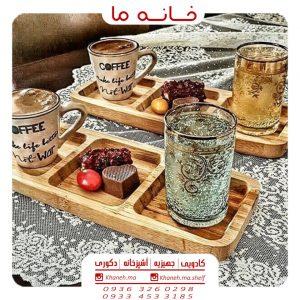 ظروف اردو خوری بامبو طرح مستطیل 3 خانه