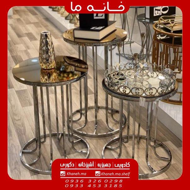 میز عسلی مجموعه سه عددی مدل ستونی