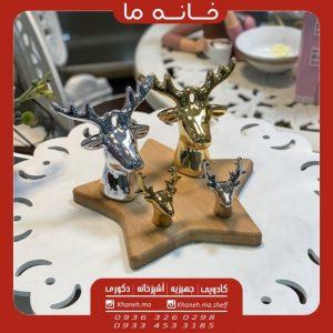 مجسمه کله گوزن طلایی و نقره ایی