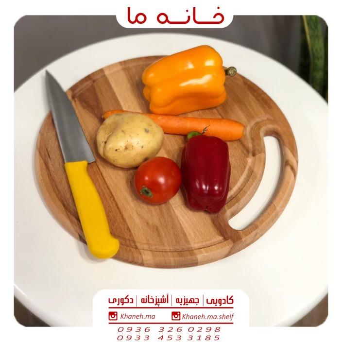 ظروف اردو خوری بامبو مدل تخته گوشت گرد t28