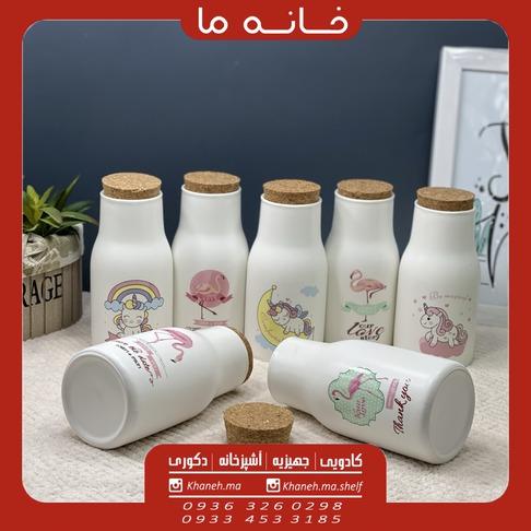 بطری شیر سرامیکی فانتزی مدل درب چوب پنبه